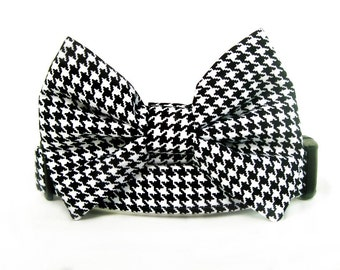Black and White Houndstooth Bow Tie Dog Collar
