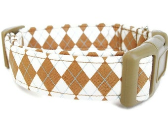 Argyle Dog Collar - Butterscotch Argyle