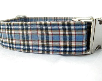 Blue Plaid Dog Collar with Nickel Plate Hardware