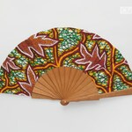Wooden fan - Brown branches and leaves wax print - autumn accessory - earth tones green gold
