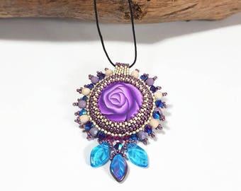 Purple queen dainty pendant, Glamour statement pendant, purple turquoise necklace, Royal boho necklace, stylish pendant, unique jewelry