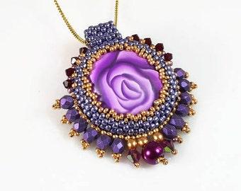 Purple pendant, Glamour pendant, Statement purple pendant, Royal Boho necklace, stylish rose pendant, chic unique jewelry, queen pendant