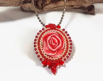 Pink pendant, pink rose necklace, red statement pendant, glamour rose pendant, royal romantic pendant, stylish pendant, elegant chic pendant