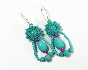 Light turquoise earrings, Blue pearls Bridesmaids, Fashion chandelier earrings, Unique Bridesmaid, Tropical Bright earrings, Queen top Gift
