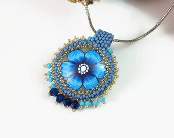 Blue necklace, glamour pendant, sticking out necklace. bridesmaid necklace, stylish floral pendant, chic blue jewelry, Queen chic pendant