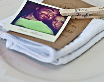 Set of 25 Bespoke Instant-Photo Retro Stylized Paper Escort or Seating Cards