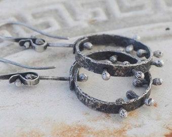 Sterling Hoop Earrings, Raw Silver, Kinetic, Pinned, Barbell, Metalsmith Jewelry