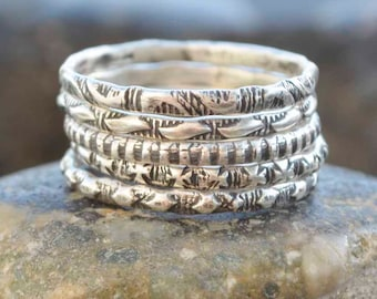 Sterling Pattern Rings, Stamped Rings, Stacking Rings, Metalsmith Jewelry