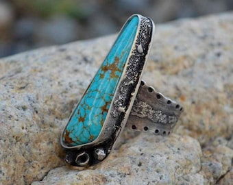 Large Turquoise Ring, Raw Sterling, Destroyed Silver, #8 Turquoise, Metalsmith Jewelry