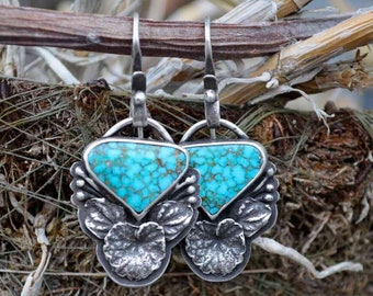 Turquoise Earrings, Botanical Earrings, Dangle, Campitos, Sterling Silver, Metalsmith Jewelry
