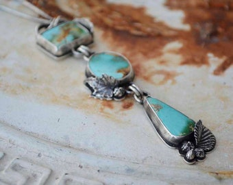 Sterling Turquoise Necklace, Royston, Triple Stone, Botanical, Statement, Leaf, Pendant, Metalsmith Jewelry