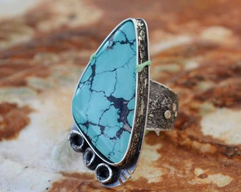 Large Turquoise Ring, Raw Sterling, Statement, Rustic, Ruby, Metalsmith Jewelry