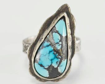 Turquoise Ring, Raw Sterling, Destroyed Silver, Cloud Mountain, Metalsmith Jewelry