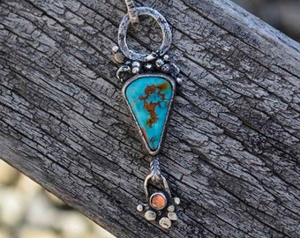 Sterling Turquoise Necklace, Raw Sterling, Rustic, Sapphire, Pendant, Metalsmith Jewelry