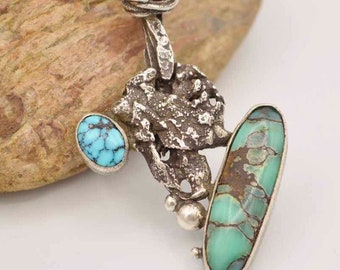 Turquoise Necklace, Raw, Sterling Silver, Variscite, Pendant, Art Jewelry, Metalsmith Jewelry
