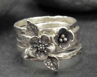 Sterling Flower Rings, Forget Me Not Rings, Metalsmith Jewelry