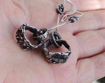 Raw Sterling Earrings, Hoop, Kinetic, Rustic, Distressed, Pinned, Metalsmith Jewelry