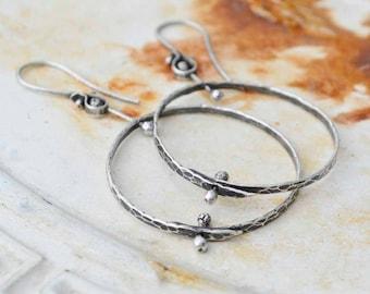 Sterling Hoop Earrings, Kinetic, Large Hoop, Hammered, Pinned, Metalsmith Jewelry