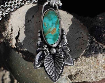 Turquoise Necklace, Royston, Botanical, Leaf, Sterling Silver, Pendant, Metalsmith Jewelry