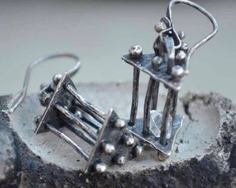 Sterling Cage Earrings, Herkimer Diamond, Rustic, Raw Sterling, Raw Silver, Textured, Metalsmith Jewelry