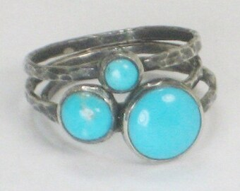 Turquoise Rings,  Sterlig Silver Turquoise Rings, Handmade, Metalsmith Jewelry