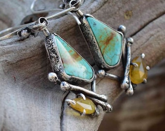 Turquoise Earrings, Rustic, Bones, Yellow Sapphire, Sterling Silver,  Metalsmith Jewelry