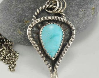 Turquoise Necklace, Sterling Silver, Pendant, Metalsmith Jewelry