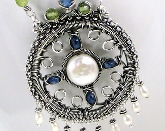 Wire Wrapped, Medallion Necklace, Sterling Silver, Pendant, Handmade, Metalsmith Jewelry