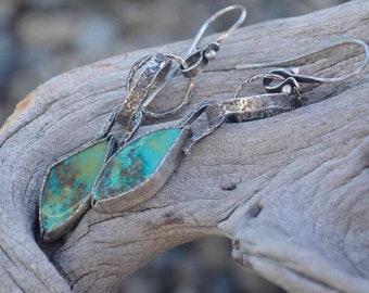 Turquoise Earrings, Hoop, Raw Sterling Silver, Rustic, Long, Metalsmith Jewelry