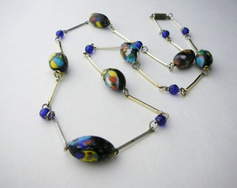 Vintage Long Royal Blue Venetian Art Glass colorful Bead Necklace with Gold-tone metal links