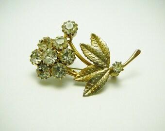 Vintage Clear Rhinestone Flower Brooch Pin Goldtone