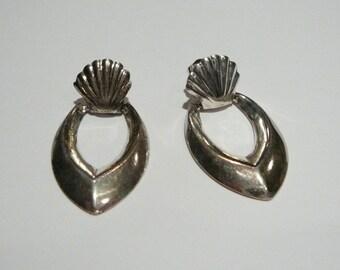 Vintage Sterling Silver hoop earrings Door knocker Doorknocker