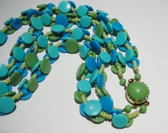 Vintage Button Double Dual strand Necklace W Germany Teal Blue Avocado Turquoise