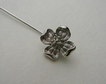 Vintage Trifari Stick pin flower silver tone