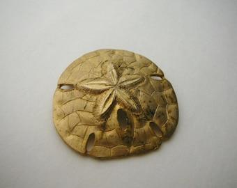 Large vintage Metal Sand Dollar Brooch pin gold tone