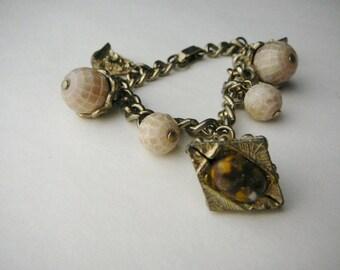 Vintage Charm bracelet Etruscan pyramid Acorn gold tone