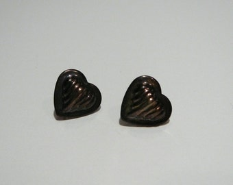 Cute small tiny Vintage sterling silver puffed heart earrings