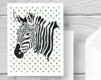 Zebra Card-Zebra-Zebra Art-Polka Dots-Stripes-Zebra Greeting Card-Safari Card-Safari Stationery-Safari Stationery-Zebra Lovers-Zebra Gift
