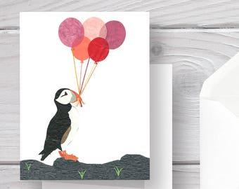 Puffin Card-Puffin-Bird Card-Bird-Bird Art-Bird Print-Puffin Art-Puffin Print-Birthday Puffin-Birthday Card-Birthday Balloons-Balloon Card