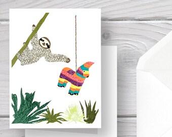 Sloth Card-Sloth-Sloth Art-Sloth Print-Jungle Card-Jungle Sloth-Jungle Print-Jungle Art-Sloth Stationery-Blank Inside-Sloth Greeting