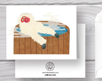 Macaque Card-Japanese Macaque-Spa Card-Monkey Card-Monkey Art-Spa Art-Spa Day-Macaque Art-Hot Tub-Macaque Greeting-Spa Greeting