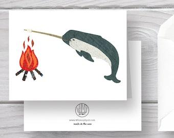 Narwhal Card-Narwhal-Sea Unicorn-Campfire Card-Campfire-Narwhal Art-Ocean Card-Ocean Animal-Narwhal Greeting-Narwhal Greeting Card