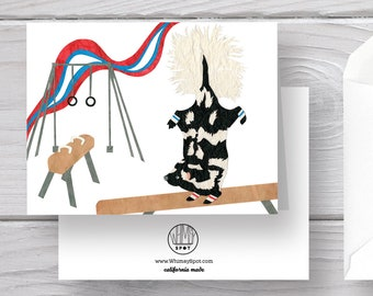Skunk Card-Gymnastics Card-Spotted Skunk-Spotted Skunk Card-Skunk Art-Gymnastics Greeting-Balance Beam-Pommel Horse-Team USA