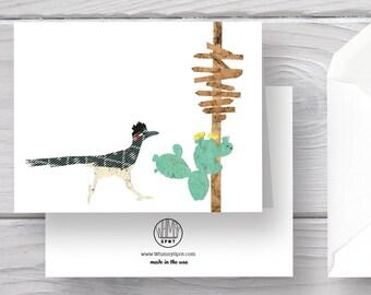 Roadrunner Card-Roadrunner-Desert Card-Cactus-Direction Sign-Bird Card-Desert Bird-Desert Animals Cards-Desert Animals-Desert Art