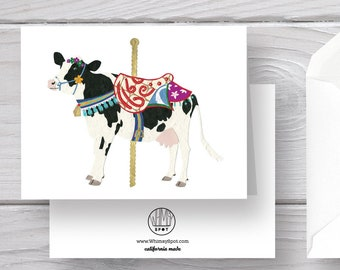 Cow Card-Holstein Cow-Cow Greeting-Cow Gift-Carousel-Carousel Card-Farm Card-Farm Gift-Farm Animal-Carousel Gift