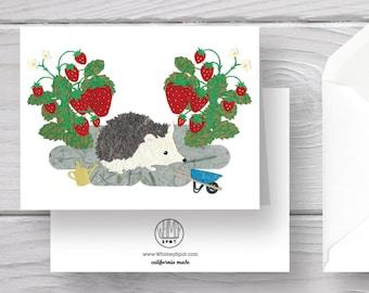 Hedgehog Card-Hedgehog-Garden Card-Gardening Card-Strawberries-Cute Hedgehog-Watering Can-Hedgehog Stationery-Hedgehog Greeting Card