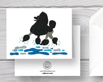 Poodle Card-Black Poodle-Dog Card-Standard Poodle Card-Poodle Greeting Card-Poodle Art-Poodle Gift-Poodle Present-Poodle Love
