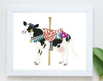 PRE-ORDER-Cow Print-Holstein Cow-Cow Art-Cow Gift-Carousel-Cow Wall Art-Farm Art-Farm Print-Farm Animal-Carousel Art-Carousel Print