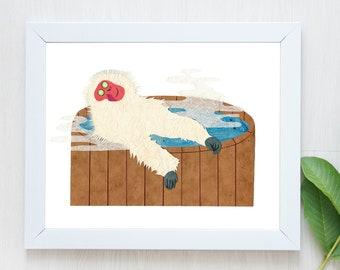 Macaque Print-Japanese Macaque-Spa Print-Monkey Print-Monkey Art-Spa Art-Spa Day-Macaque Art-Hot Tub-Spa Decor-Spa Gift