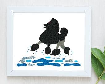 PRE-ORDER-Poodle Print-Standard Poodle-Dog Print-Poodle Art-Poodle Wall Art-Animal Art-Black Standard Poodle-Dancing Poodle-Poodle Present